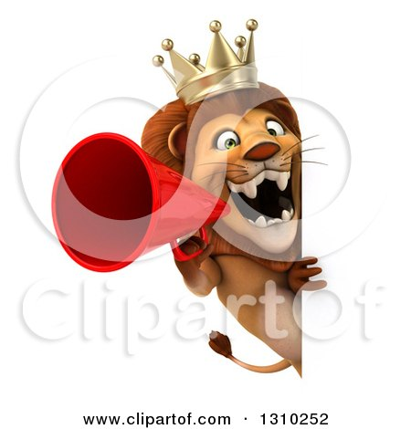 Clipart of a 3d Lion King Announcing with a Megaphone Around a Sign - Royalty Free Illustration by Julos