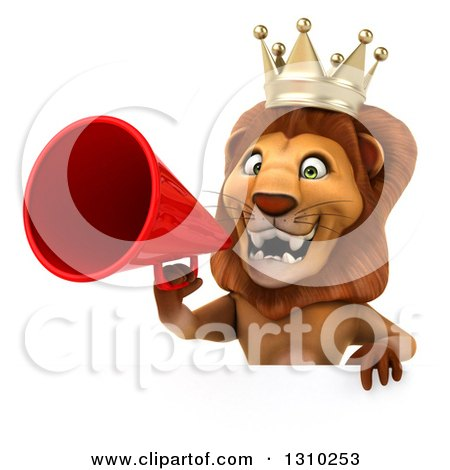 Clipart of a 3d Lion King Announcing with a Megaphone over a Sign - Royalty Free Illustration by Julos