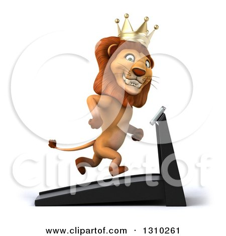 Clipart of a 3d Male Lion King Facing Right and Running on a Treadmill 2 - Royalty Free Illustration by Julos