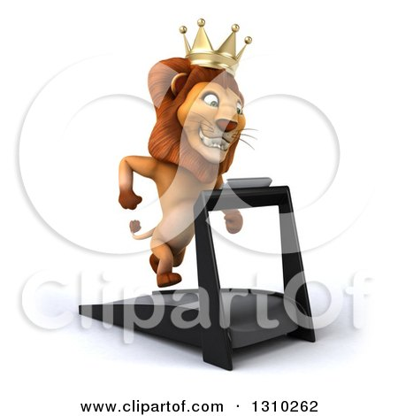 Clipart of a 3d Male Lion King Facing Slightly Right and Running on a Treadmill - Royalty Free Illustration by Julos