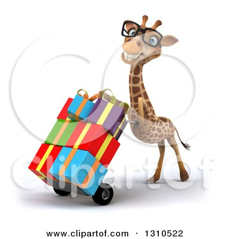 Clipart of a 3d Bespectacled Giraffe Pushing Gifts on a Dolly, Facing Slightly Left 2 - Royalty Free Illustration by Julos