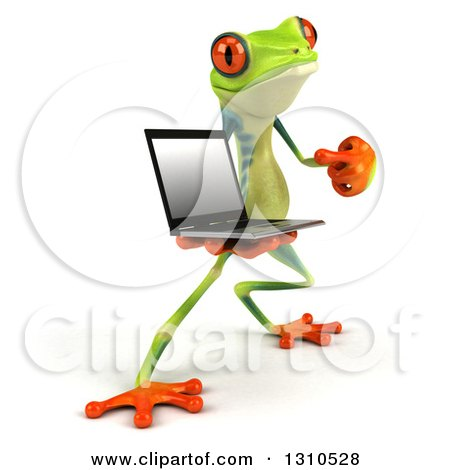 Clipart of a 3d Argie Frog Facing Slightly Right, Holding and Pointing to a Laptop Computer - Royalty Free Illustration by Julos