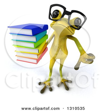Clipart of a 3d Bespectacled Light Green Springer Frog Holding up a Stack of Books and Thumb down - Royalty Free Illustration by Julos