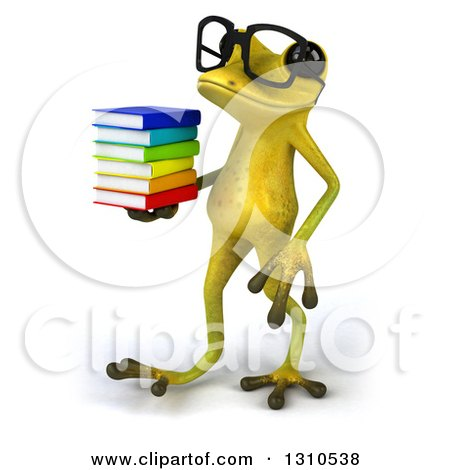 Clipart of a 3d Bespectacled Light Green Springer Frog Holding a Stack of Books and Walking to the Left - Royalty Free Illustration by Julos