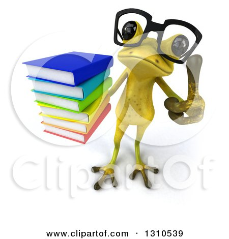 Clipart of a 3d Bespectacled Light Green Springer Frog Holding up a Stack of Books and Thumb - Royalty Free Illustration by Julos