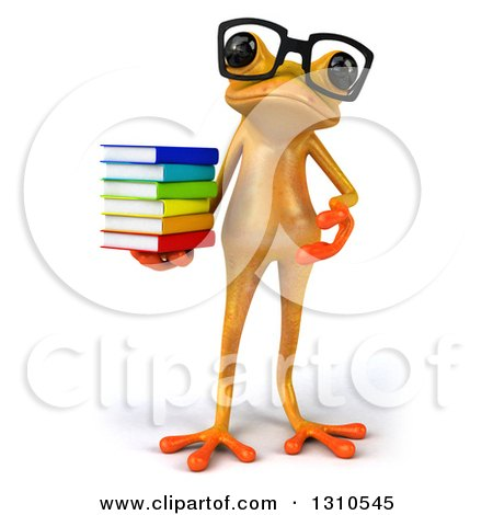 Clipart of a 3d Bespectacled Yellow Springer Frog Holding and Presenting a Stack of Books - Royalty Free Illustration by Julos