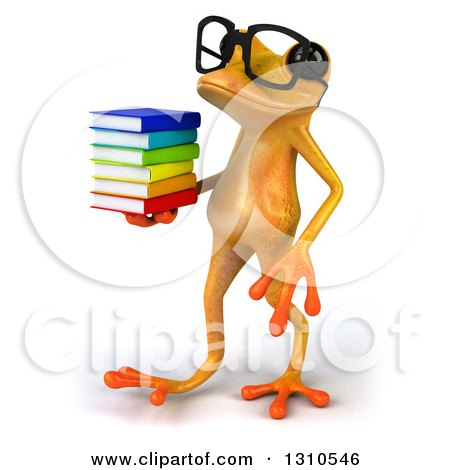 Clipart of a 3d Bespectacled Yellow Springer Frog Walking to the Left with a Stack of Books - Royalty Free Illustration by Julos