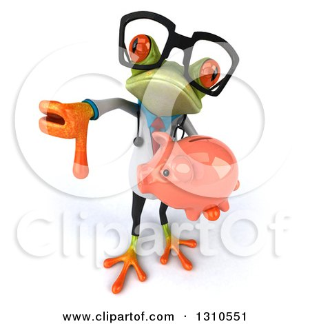 Clipart of a 3d Bespectacled Green Doctor Springer Frog Holding up a Thumb down and a Piggy Bank - Royalty Free Illustration by Julos