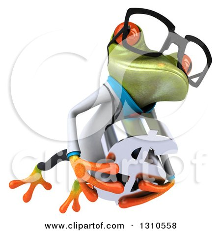 Clipart of a 3d Bespectacled Green Doctor Springer Frog Holding a Dollar Symbol and Leaping to the Right - Royalty Free Illustration by Julos