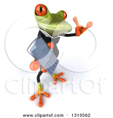 Clipart of a 3d Green Business Springer Frog Facing Slightly Right, Gesturing Call Me and Holding a Cell Phone - Royalty Free Illustration by Julos