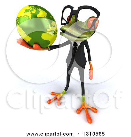 Clipart of a 3d Bespectacled Green Business Springer Frog Facing Slightly Left and Holding a Globe - Royalty Free Illustration by Julos