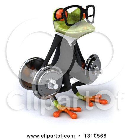 Clipart of a 3d Bespectacled Green Business Springer Frog Facing Slightly Right, Doing Dumbbell Squats with Dumbbells - Royalty Free Illustration by Julos