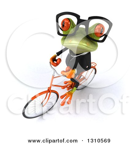 Clipart of a 3d Bespectacled Green Business Springer Frog Looking up and Riding a Bicycle - Royalty Free Illustration by Julos