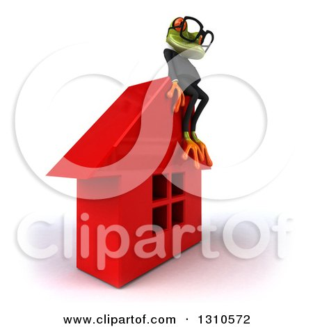 Clipart of a 3d Bespectacled Green Business Springer Frog Facing Right and Sitting on a Red House - Royalty Free Illustration by Julos