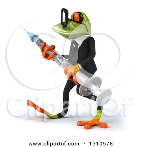 Clipart of a 3d Bespectacled Green Business Springer Frog Walking to the Left and Carrying a Giant Vaccine Syringe - Royalty Free Illustration by Julos