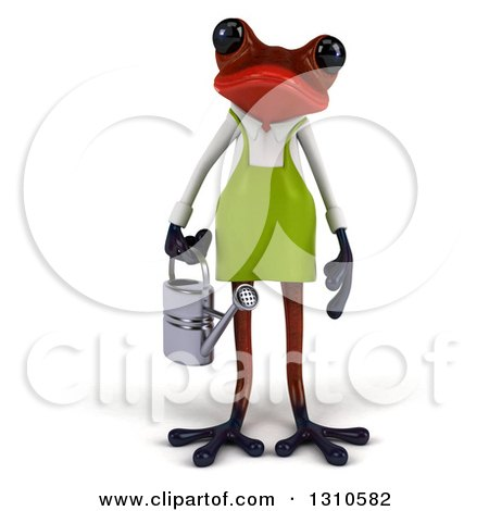 Clipart of a 3d Red Springer Frog Gardener Holding a Watering Can - Royalty Free Illustration by Julos