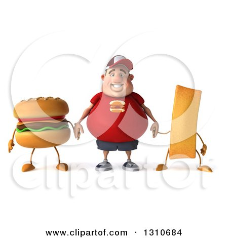 Clipart of a 3d Happy White Chubby Guy in a Red Burger Shirt, Holding Hands with a Hamburger and French Fry - Royalty Free Illustration by Julos