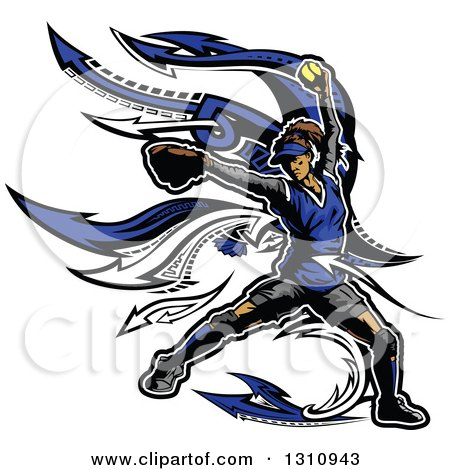 Clipart of a Female Softball Pitcher in a Blue Uniform, with Arrows - Royalty Free Vector Illustration by Chromaco