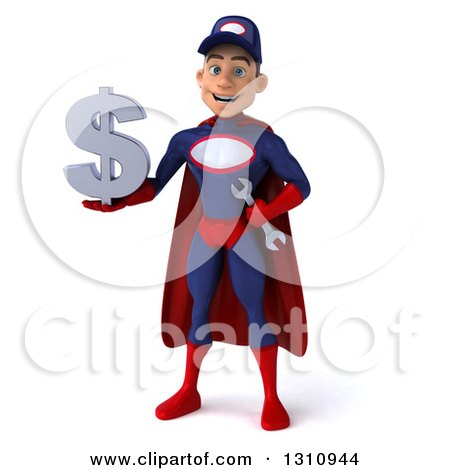 Clipart of a 3d Young White Male Super Hero Mechanic in a Navy Blue and Red Suit, Holding a Dollar Symbol - Royalty Free Illustration by Julos