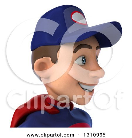 Clipart of a 3d Avatar of a Young White Male Super Hero Mechanic in a Navy Blue and Red Suit, Facing Right - Royalty Free Illustration by Julos