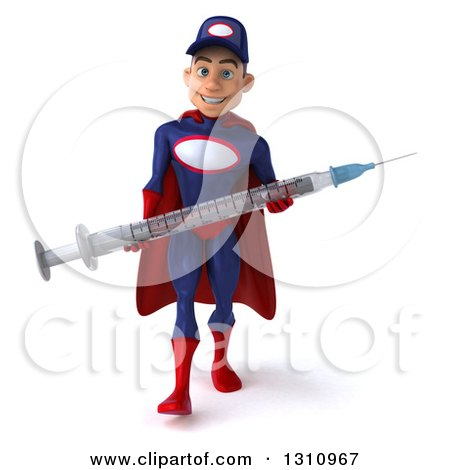 Clipart of a 3d Young White Male Super Hero Mechanic in a Navy Blue and Red Suit, Walking and Holding a Giant Vaccine Syringe - Royalty Free Illustration by Julos