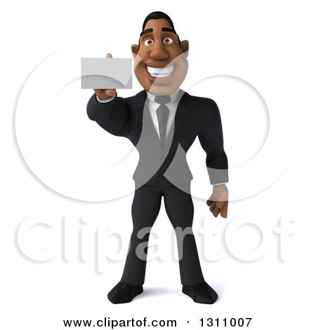 Clipart of a 3d Handsome Black Businessman Holding out a Business Card - Royalty Free Illustration by Julos