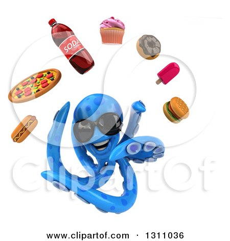 Clipart of a 3d Blue Octopus Wearing Sunglasses and Juggling Junk Food - Royalty Free Illustration by Julos