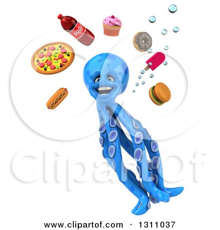 Clipart of a 3d Blue Octopus Looking up at Junk Food - Royalty Free Illustration by Julos