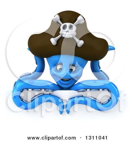 Clipart of a 3d Happy Blue Pirate Octopus Looking down over a Sign - Royalty Free Illustration by Julos