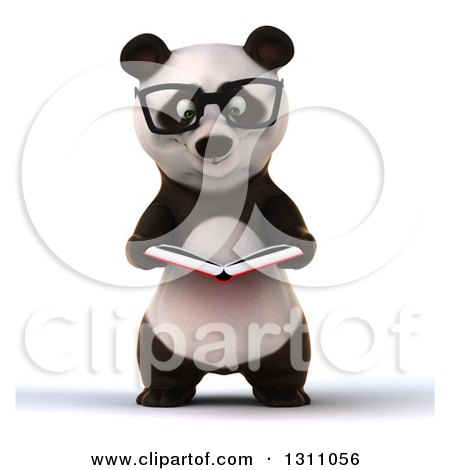 Clipart of a 3d Bespectacled Business Panda Reading a Book - Royalty Free Illustration by Julos