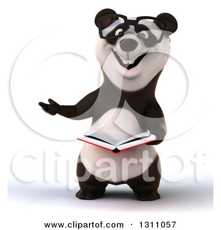 Clipart of a 3d Bespectacled Business Panda Presenting and Reading a Book - Royalty Free Illustration by Julos