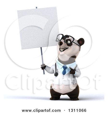 Clipart of a 3d Bespectacled Doctor or Veterinarian Panda Holding and Pointing to a Blank Sign - Royalty Free Illustration by Julos