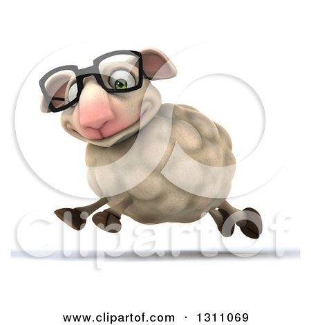 Clipart of a 3d Bespectacled Sheep Smiling and Running to the Left - Royalty Free Illustration by Julos