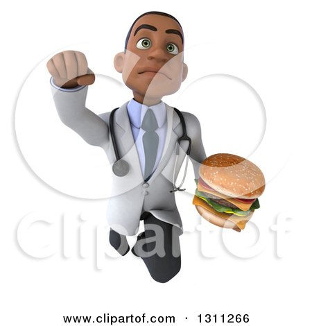 Clipart of a 3d Young Black Male Nutritionist Doctor Flying and Holding a Double Cheeseburger 3 - Royalty Free Illustration by Julos