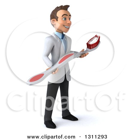Clipart of a 3d Happy Young Brunette White Male Dentist Facing Right with a Giant Toothbrush - Royalty Free Illustration by Julos