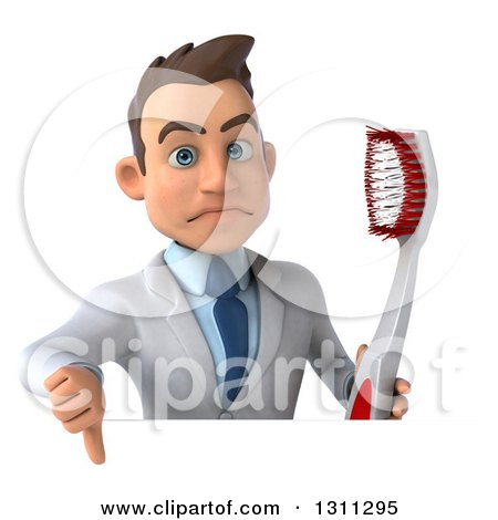 Clipart of a 3d Unhappy Young Brunette White Male Dentist Holding a Thumb down and a Giant Toothbrush over a Sign - Royalty Free Illustration by Julos