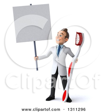 Clipart of a 3d Happy Young Brunette White Male Dentist Holding a Blank Sign and a Giant Toothbrush - Royalty Free Illustration by Julos