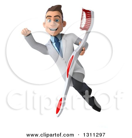 Clipart of a 3d Happy Young Brunette White Male Dentist Flying with a Giant Toothbrush 2 - Royalty Free Illustration by Julos