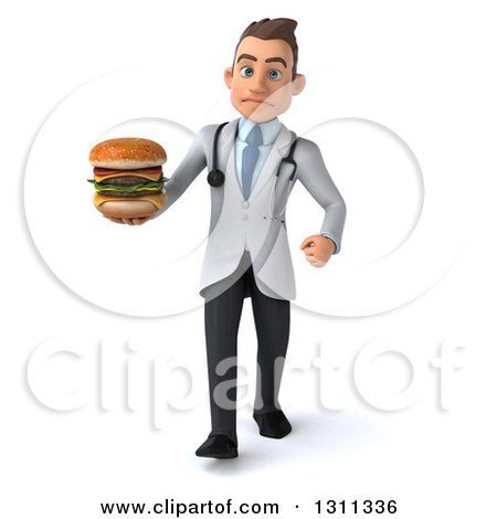 Clipart of a 3d Young Brunette White Male Doctor Walking and Holding a Double Cheeseburger - Royalty Free Illustration by Julos