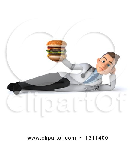 Clipart of a 3d Young Brunette White Male Doctor Resting on Hi Side and Holding a Double Cheeseburger - Royalty Free Illustration by Julos