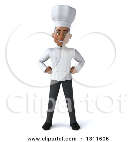 Clipart Of A 3d Young Black Male Chef With Hands On His Hips Royalty Free Illustration