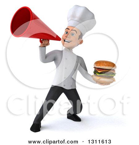 Clipart of a 3d Young White Male Chef Holding a Double Cheeseburger and Announcing with a Megaphone - Royalty Free Illustration by Julos