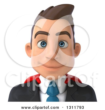 Clipart of a 3d Avatar of a Happy Young White Super Businessman - Royalty Free Illustration by Julos