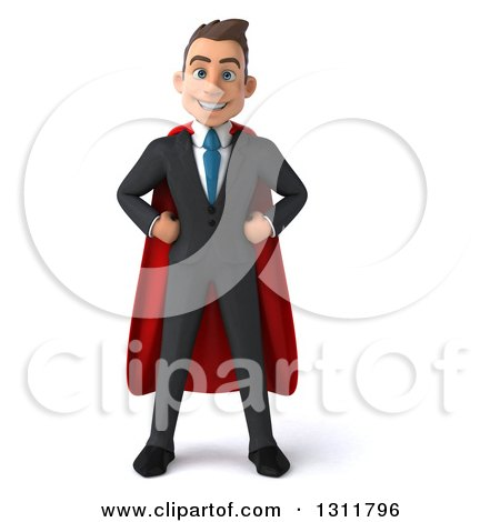 Clipart of a 3d Happy Young White Super Businessman with Hands on His Hips - Royalty Free Illustration by Julos