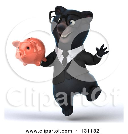 Clipart of a 3d Bespectacled Black Business Bear Jumping and Holding a Piggy Bank - Royalty Free Illustration by Julos