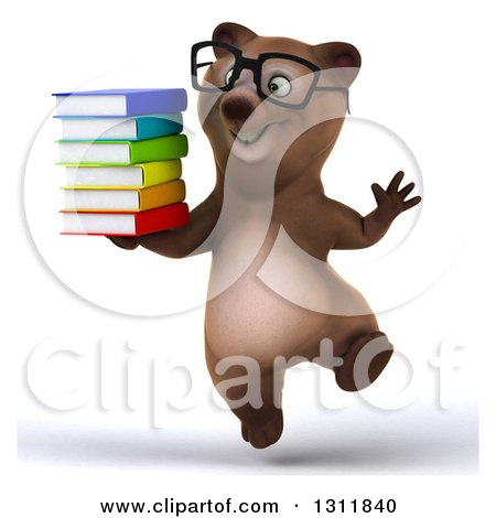 Clipart of a 3d Bespectacled Brown Bear Jumping and Holding a Stack of Books - Royalty Free Illustration by Julos
