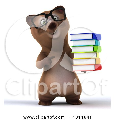 Clipart of a 3d Bespectacled Brown Bear Holding a Stack of Books - Royalty Free Illustration by Julos