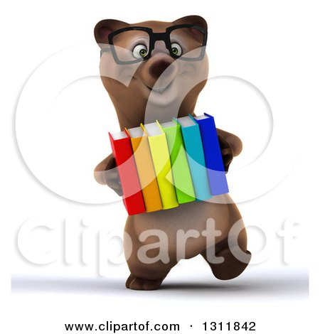 Clipart of a 3d Bespectacled Brown Bear Walking and Carrying Books - Royalty Free Illustration by Julos