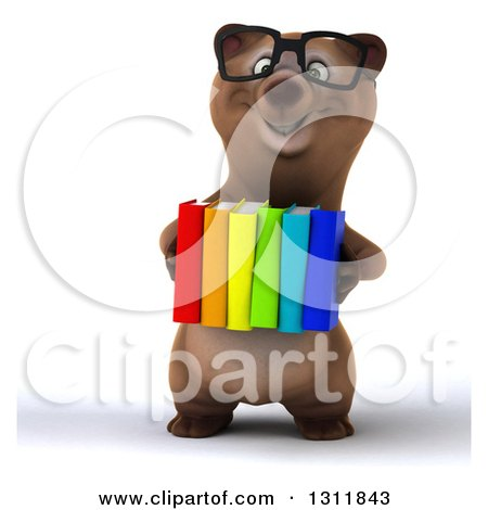 Clipart of a 3d Bespectacled Brown Bear Holding Books - Royalty Free Illustration by Julos