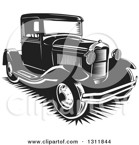 Clipart of a Black and White Vintage Pickup Truck - Royalty Free Vector Illustration by David Rey